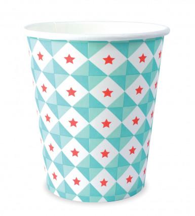 8 tazze in cartone motivi geometrici verde acqua 25 cl