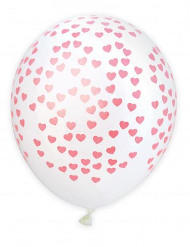 6 palloncini con cuori 25 cm