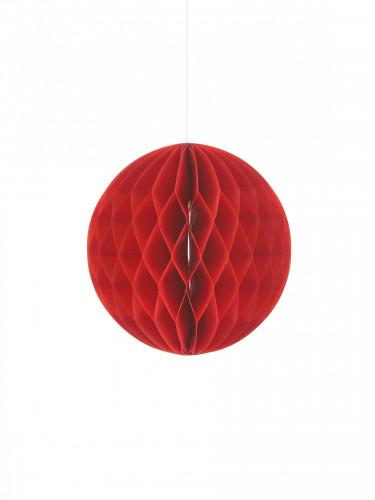 Pallina in carta con decorazione a nido d'ape rossa 10 cm