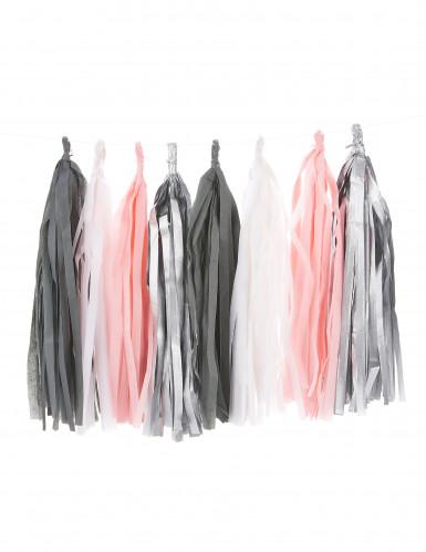 Ghirlanda di nappa 16 pompon argento, grigio, bianco e rosa