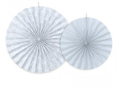 2 Rosoni in carta bianca e grigio-blu
