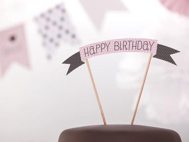 Decorazione rosa per torta Buon Compleanno-1