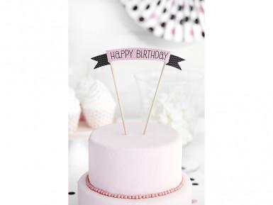 Decorazione rosa per torta Buon Compleanno-2