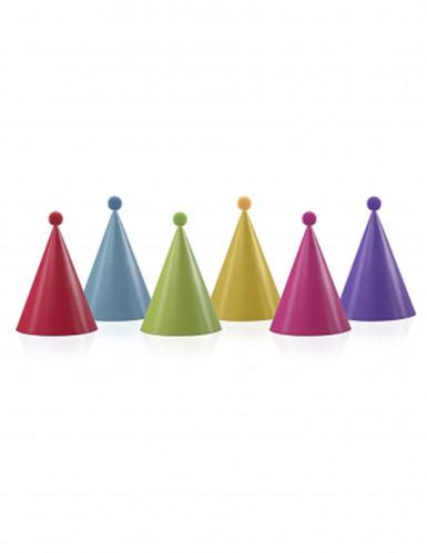 Confezione da 6 cappellini da festa con pon pon