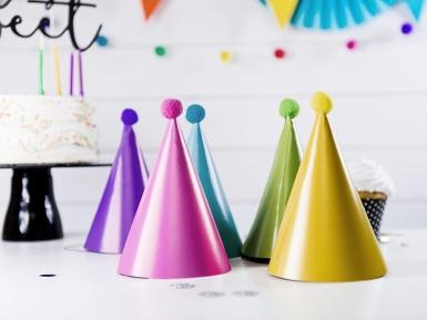 Confezione da 6 cappellini da festa con pon pon-1