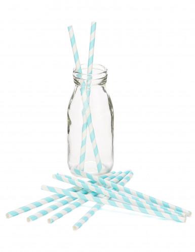 10 cannucce di carta a strisce di colore azzurro-1