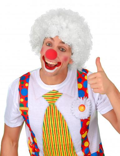 Parrucca bianca per adulto in stile afro/clown-1