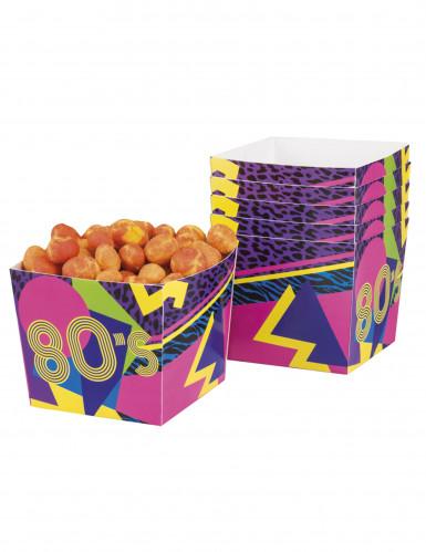 6 scatole porta caramelle in cartone 80's Party