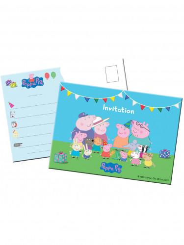 8 inviti Peppa Pig in cartoncino