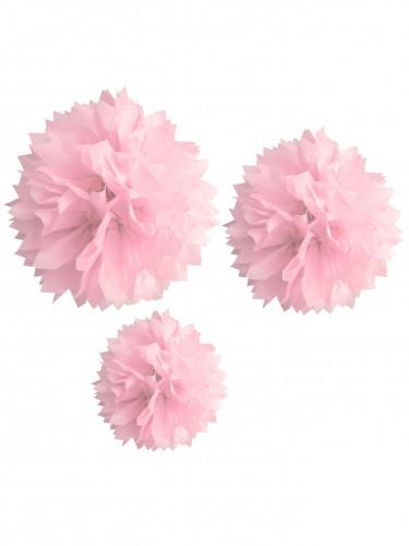 3 ponpon di carta rosa 20, 30 e 40 cm