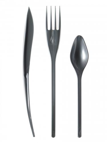 30 posate in plastica grigio argento