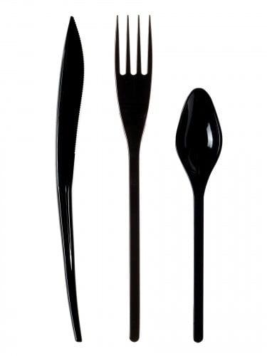 30 Posate in plastica nere