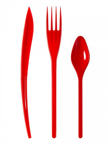 30 Posate in plastica rosse