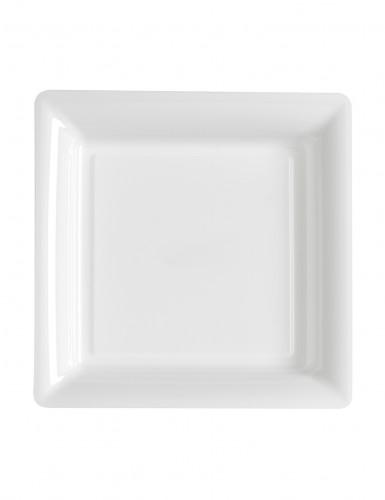 12 piattini quadrati in plastica bianchi