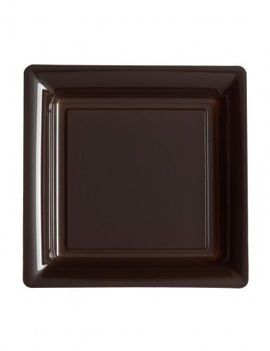 12 piattini quadrati in plastica color cioccolato