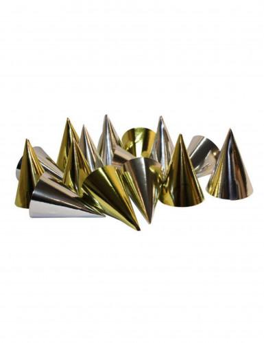 100 cappelli a cono oro e argento