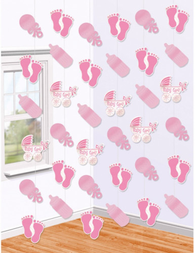 6 sospensioni rosa per baby shower
