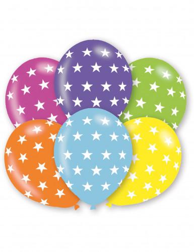 6 palloncini con stelline milticolore