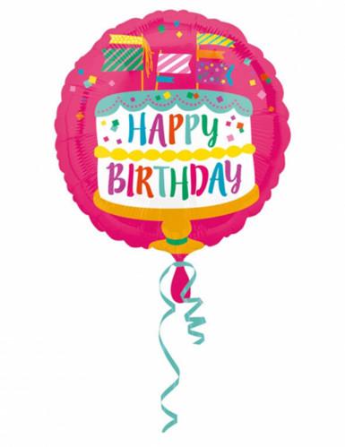 Palloncino in alluminio con torta Happy Birthday