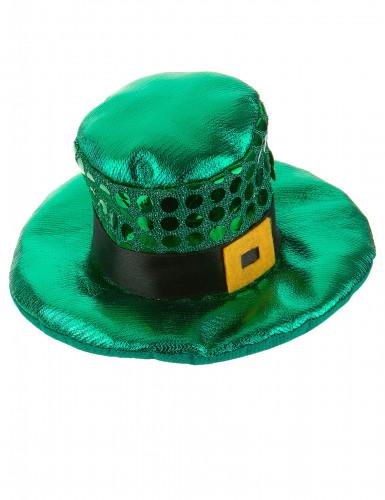 Mini cappello verde con paillettes San Patrizio per adulto-1