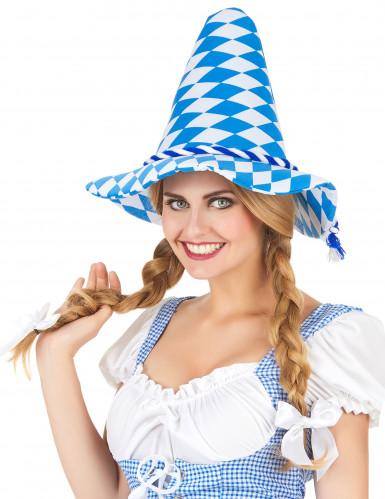 Cappello bavarese blu e bianco per adulto-1