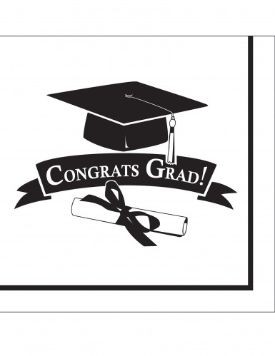 36 tovaglioli bianchi Congrats Grad