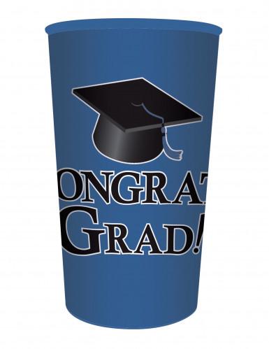 Bicchiere di plastica blu Congrats Grad