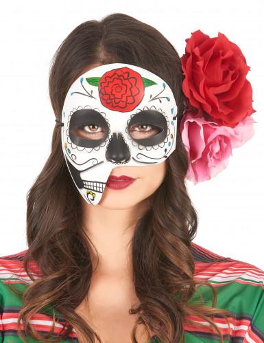 Maschera asimmetrica Dia de los muertos per adulti