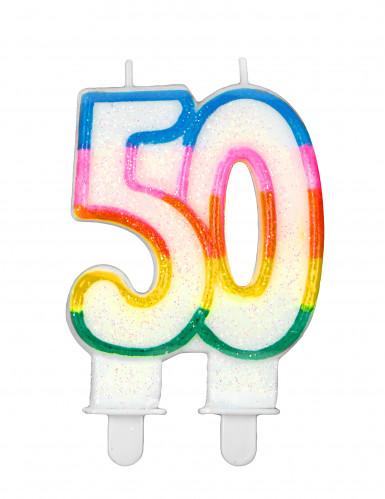candelina per 50 anni multicolor