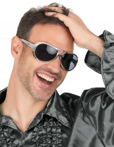 Occhiali disco per adulto argento-2