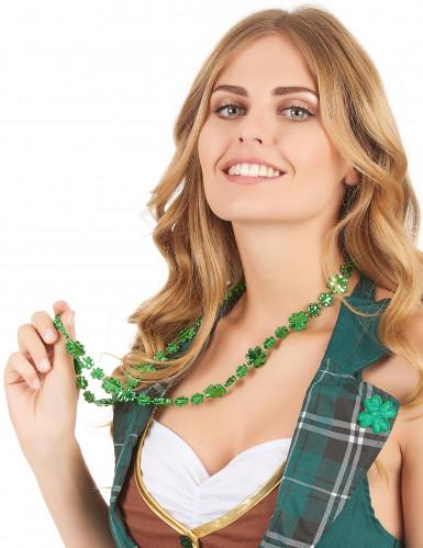 Collana verde con trifogli brillanti San patrizio adulto-1