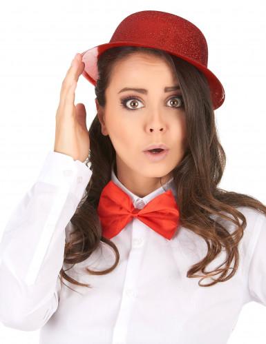 Cappello a bombetta paillettato rosso per adulto-1