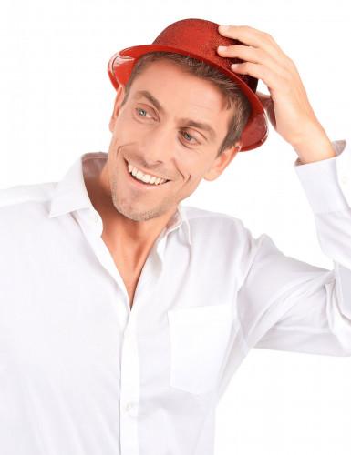 Cappello a bombetta paillettato rosso per adulto-2