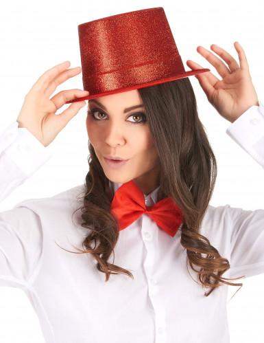 Cappello a cilindro brillantini rosso-1