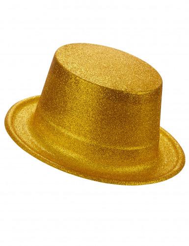 Cappello a cilindro brillantini oro
