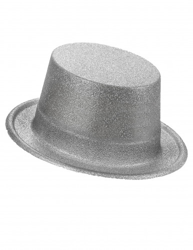 Cappello a cilindro brillantini argento