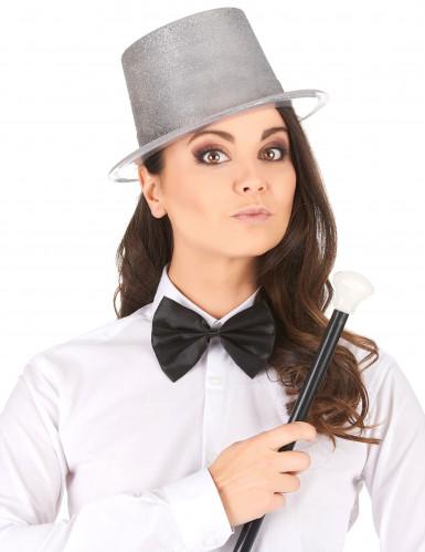 Cappello a cilindro brillantini argento-1