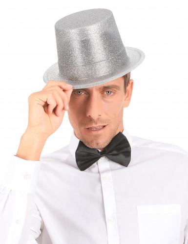 Cappello a cilindro brillantini argento-2