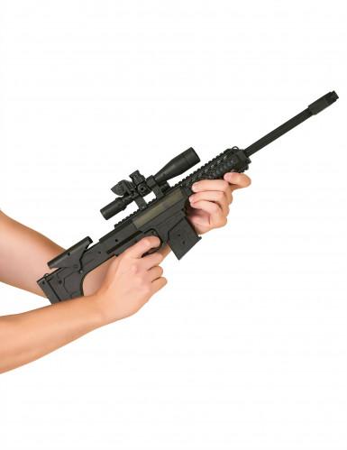 Finta mitragliatrice piccola sonora nera per bambini-1