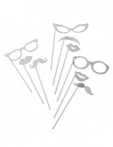 Kit per photobooth brillantini argentati
