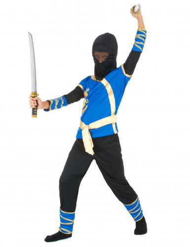 Costume da ninja blu e dorato da bambino-1