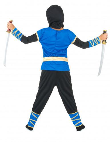 Costume da ninja blu e dorato da bambino-2
