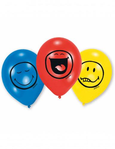 6 palloncini di lattice con emoticons Smiley™