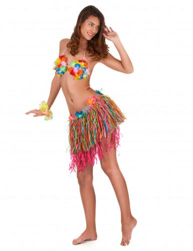 Gonna hawaiana con frange multicolor-1