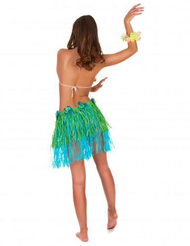 Gonna hawaiana corta verde e blu con fiori per adulto-2