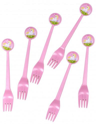 6 forchette di plastica Unicorno