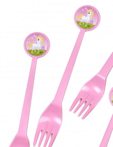 6 forchette di plastica Unicorno-1
