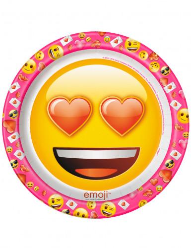 8 piatti di cartone Emoji™ 22 cm cuoricini