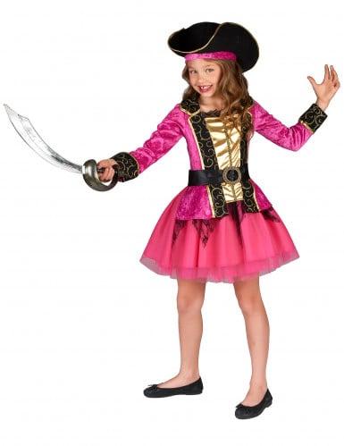 Costume piratessa rosa e oro bambina-1