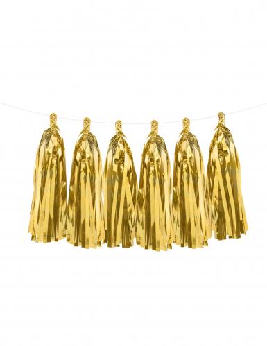 Ghirlanda con 12 ponpon dorati metallizzati